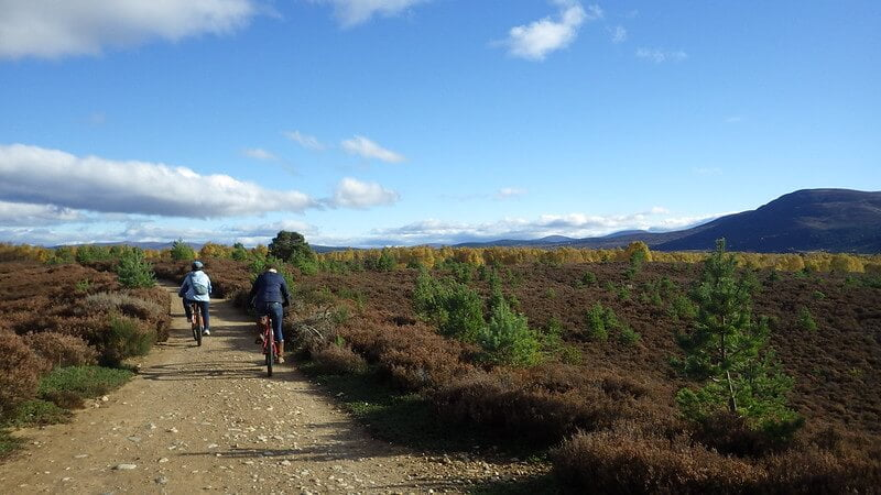 Two bikers on trail in Speyside